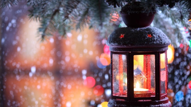 Christmas, New Year, Candle, Torch Branch, Snow, Winter, Snowflakes, decorations (horizontal)