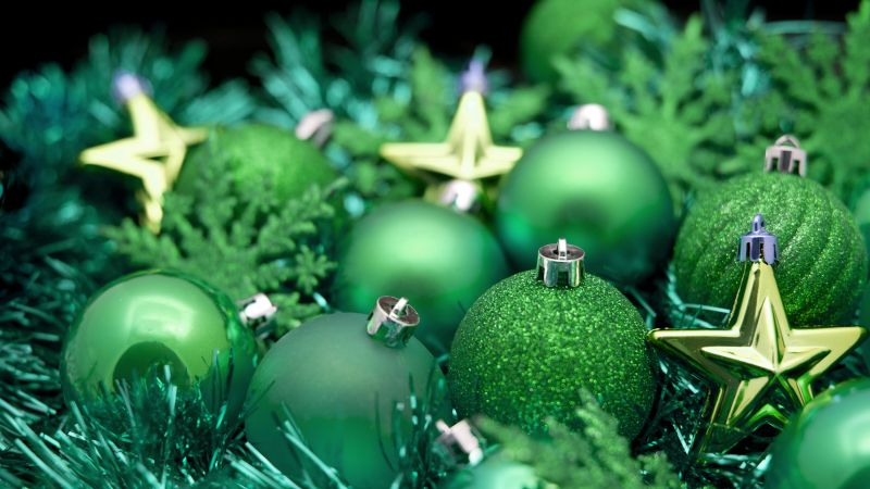Christmas, New year, balls, decorations, star, green (horizontal)