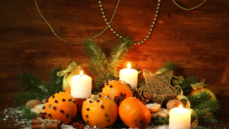 Christmas, New Year, candle, star, decorations, balls (horizontal)