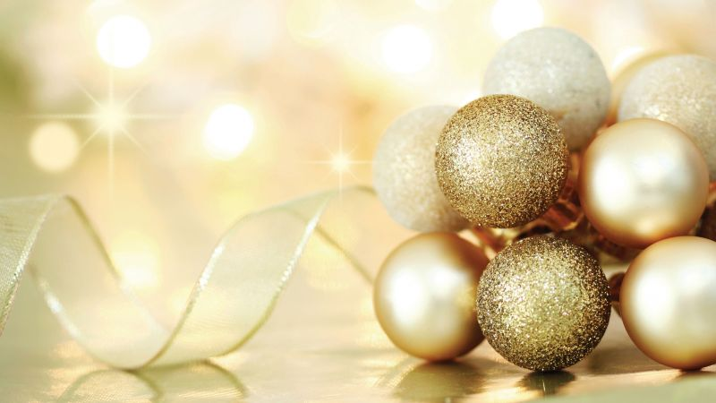 Christmas, New year, balls, decorations (horizontal)