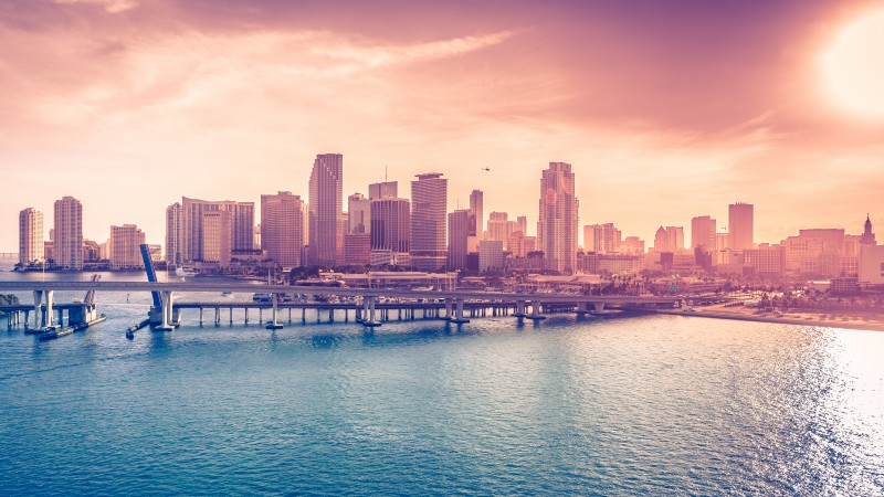 Miami, Florida, USA, Downtown, sea, ocean, water, sky, clouds, bridge, travel, vacation, booking, hotel, beach