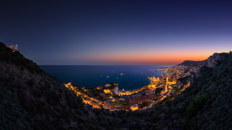 Principality, Monaco, Vista Palace Hotel, twilight, night, sky, light, boats, travel, vacation, booking, sea, ocean