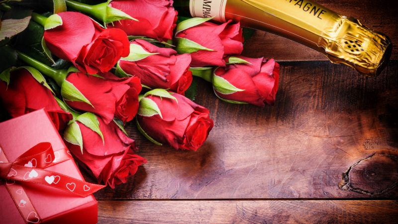 Valentine's Day, rose, champagne, love