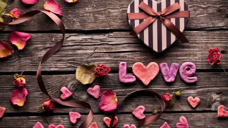 Valentine's Day, heart, decorations, romantic, love, ribbon (horizontal)