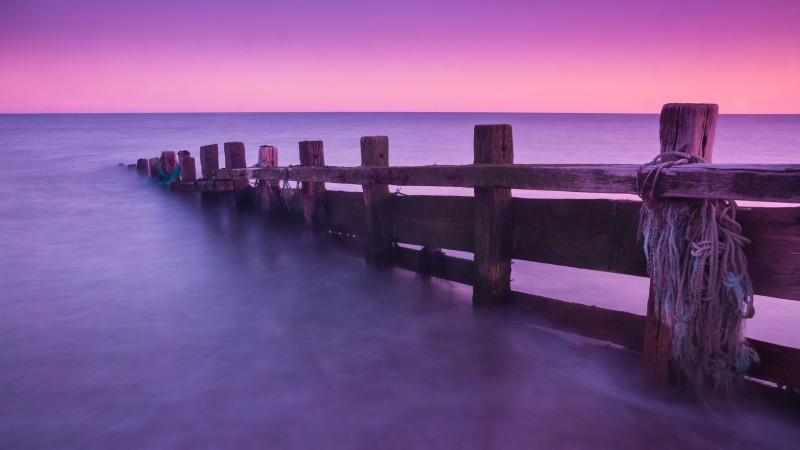 docks, abandoned, Seven Sisters Country Park, England, purple, pink, sunrise, sunset, sea, ocean, water, clear sky