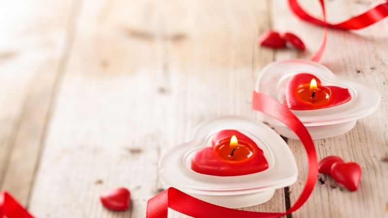 Valentine's Day, candle, ribbon, romantic, love (horizontal)