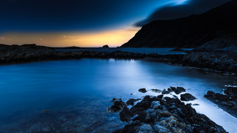 Norway, blue sunset, sea, ocean, water, sky, clouds, rocks, sunrise