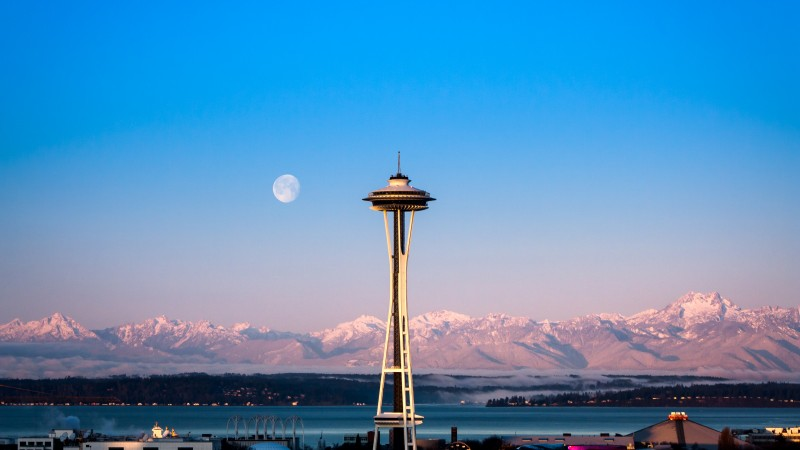 Seattle, tower, sunrise, sea, ocean, water, morning, moon, pink, clear, sky, mountain, travel, vacation