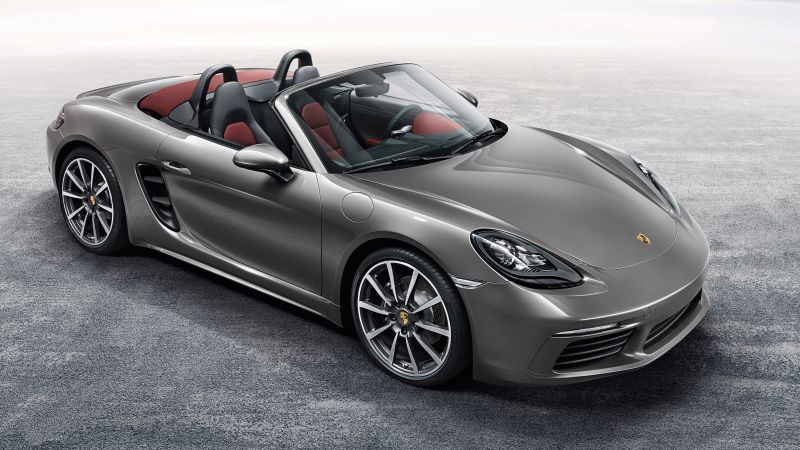 Porsche 718 Boxster, sports car, grey (horizontal)