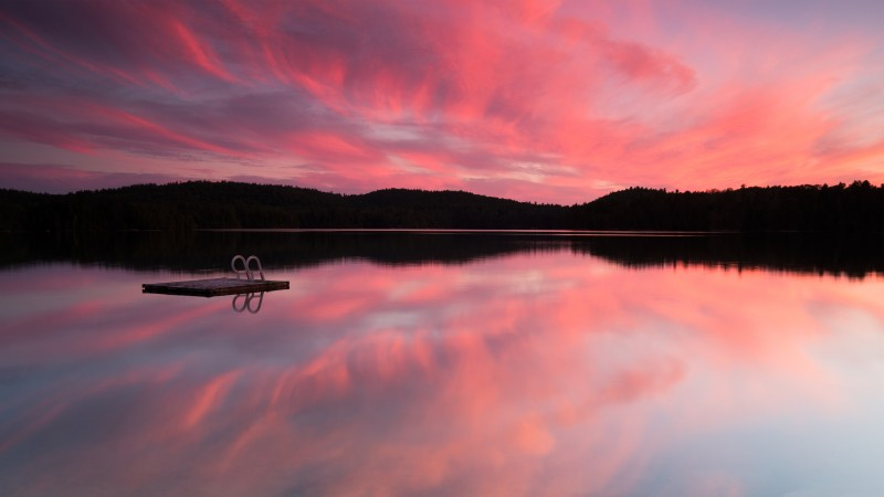 Lake, sea, pink sunset, sunrise, reflection, sky, clouds, water