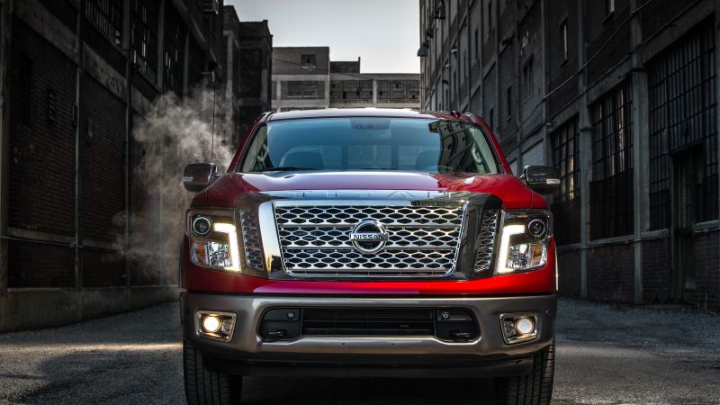 Nissan Titan Platinum, Chicago Auto Show 2016, off-road, red (horizontal)