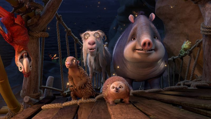 Robinson Crusoe, parrot, goat, Hedgehog, Best Animation Movies, cartoon