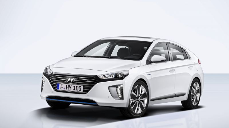 Hyundai IONIQ, Electric Car, hybrid, white