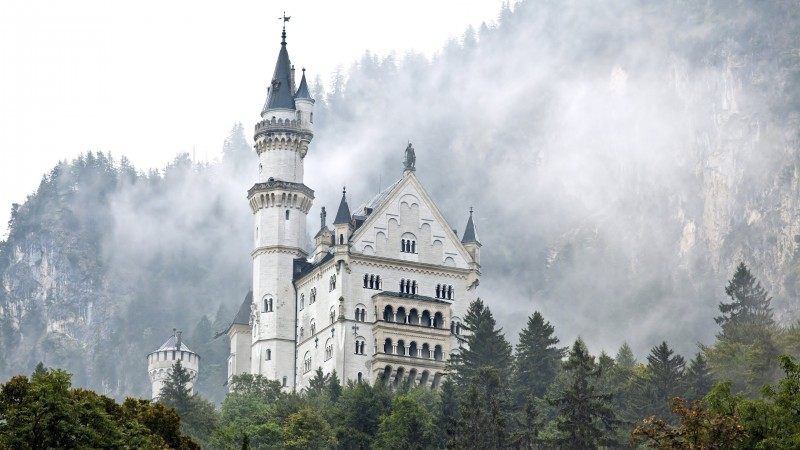 Neuschwanstein castle, Germany, forest, trees, smoke (horizontal)