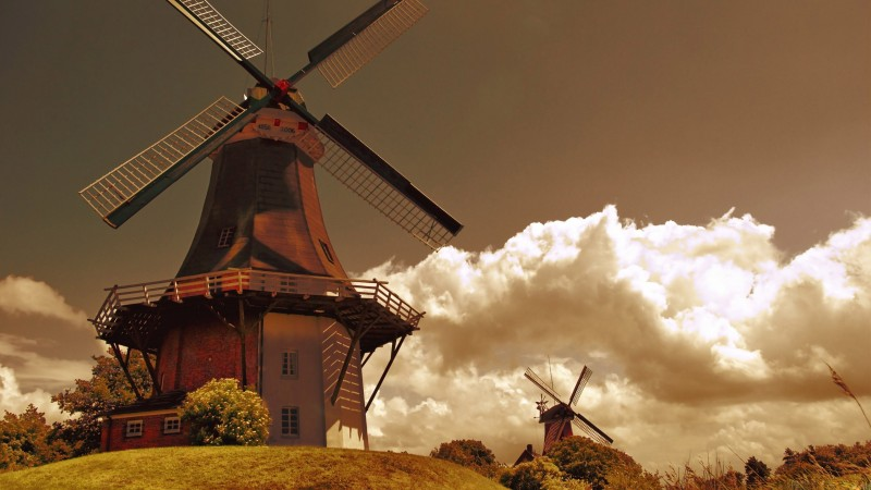 Holland, Mill, wind, field, sky, grass, nature, clouds, Netherlands