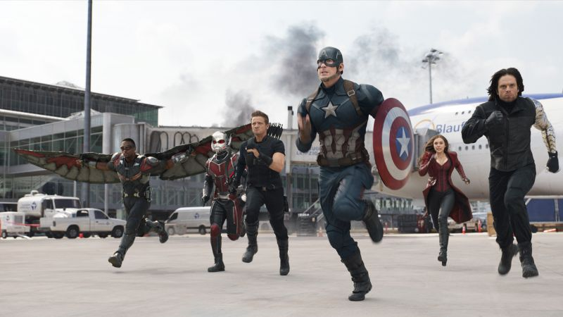Captain America 3: civil war, Chris Evans, Anthony Mackie, Jeremy Renner, Marvel, best movies of 2016