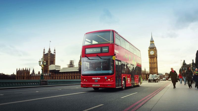 electric bus, london, first electric double decker bus (horizontal)
