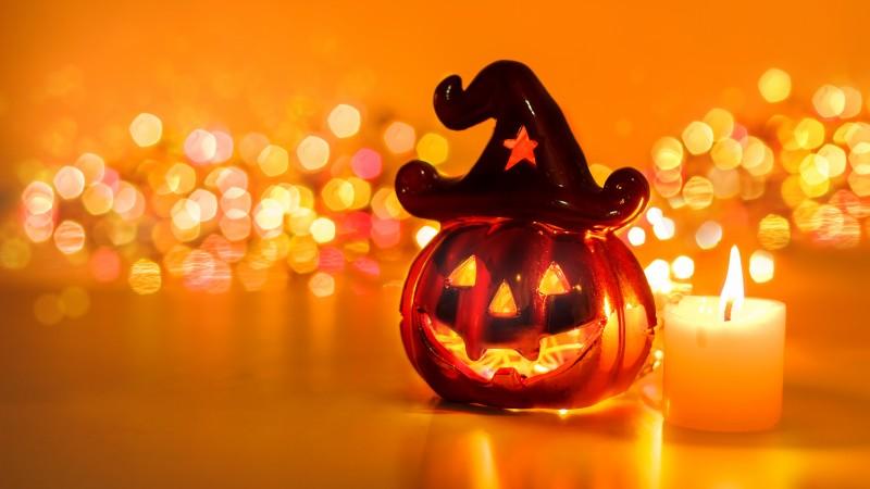 Halloween, All Hallows' Eve, All Saints' Eve, pumpkin, fear, cap, yellow, lights, decoration, bokeh (horizontal)