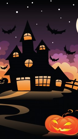 Halloween, All Hallows' Eve, All Saints' Eve, castle, night, hill, bats, full moon (vertical)