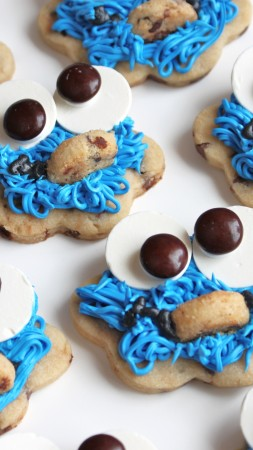 cookies, monster cookie, eyes, mouth, hair, blue, cooking, recipe (vertical)