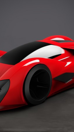 Ferrari 2040, Parabolica, supercar, Ferrari World Design Contest 2016, FWDC, red (vertical)