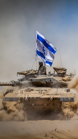 Merkava Mark IV, tank, flag, Israel Army, Israel Defense Forces, desert (vertical)
