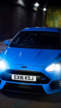 Ford Focus RS, hatchback, blue, night (vertical)