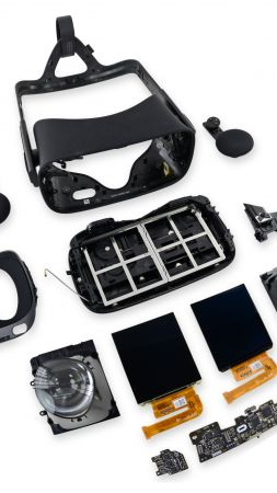 Oculus Rift, Oculus Touch, Virtual Reality, VR headset, unassembled (vertical)