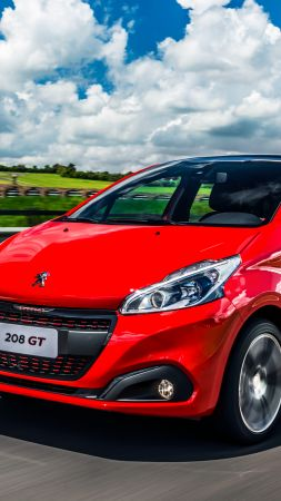 Peugeot 208 GT, hatchback, red, clouds (vertical)