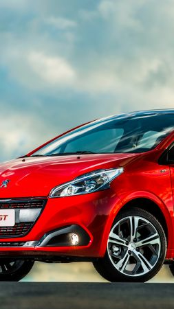 Peugeot 208 GT, hatchback, red, clouds
