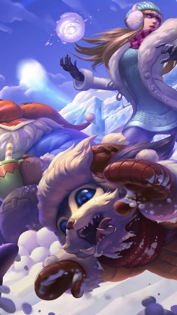 snow day, syndra bard, gnar splash, League of Legends, game, lol, MOBA (vertical)