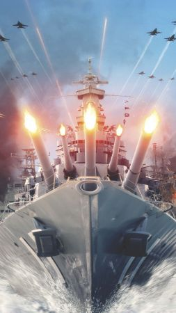 World of Warships, game, MMORPG, simulator, sea, water, battle, fire, ship, storm, Best Games of 2016 (vertical)