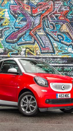 Smart fortwo passion cabrio, cabriolet, red (vertical)