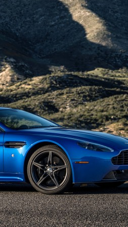 Aston Martin V8 Vantage GTS, racing cars, blue (vertical)