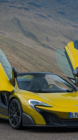 McLaren 675LT Spider, supercar, yellow (vertical)