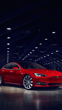 Tesla Model S P90D, electric cars, Elon Musk, red (vertical)