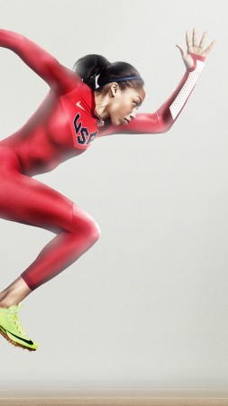 Allyson Felix, nike, running, athlete, women, red (vertical)