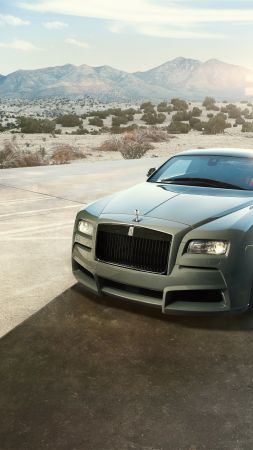 Spofec Rolls Royce Wraith, Overdose, silver, luxury cars (vertical)