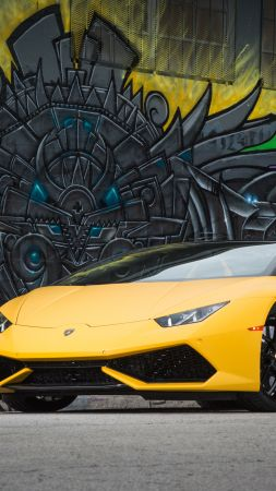 Lamborghini Huracán LP 610-4 Spyder, bodykit, graffiti, yellow (vertical)