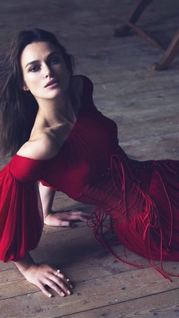 Keira Knightley, Actress, brunette, red dress, look, room, wood floor, Pirates of the Caribbean (vertical)