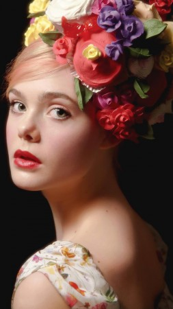Elle Fanning, look, flowers, Most popular celebs