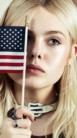 Elle Fanning, flag USA, look, Most popular celebs