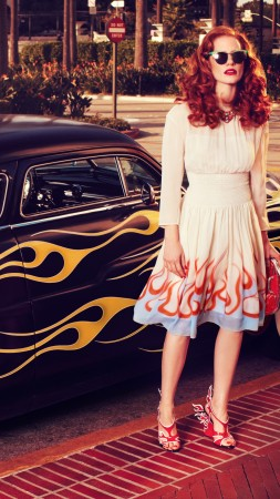 Jessica Chastain, Actress, television star, red hair, hot, dress, red lips, car, glasses, Vogue Italia (vertical)