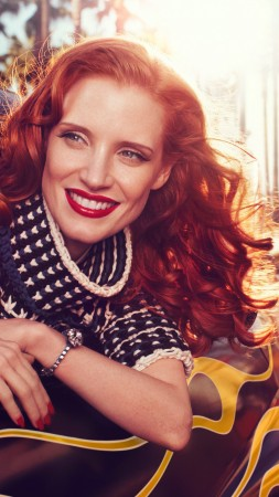 Jessica Chastain, Actress, television star, red hair, beauty, dress, red lips, car, taxi, Vogue Italia (vertical)