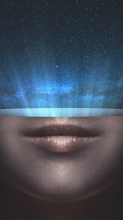 universe, stars, space, face, lips (vertical)
