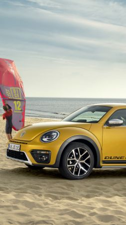 Volkswagen Beetle Dune, yellow, beach, sky, dog (vertical)