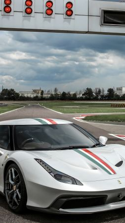Ferrari 458 MM Speciale, sport car, white (vertical)