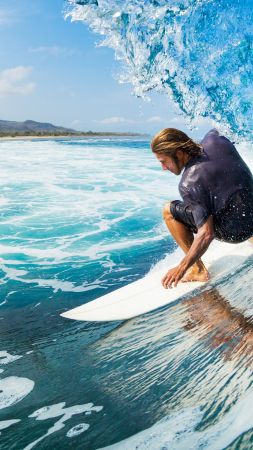 Surfing, man, sports, ocean, wave (vertical)