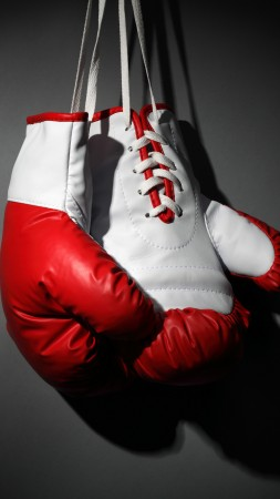 Boxing gloves, red, white, boxing (vertical)