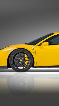 NOVITEC ROSSO Ferrari 488 gtb, supercar, yellow, speed (vertical)
